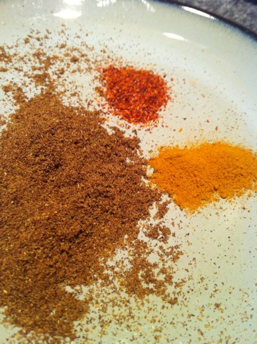 The toasted spices are on the left.